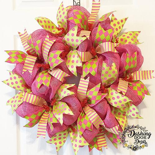 SUMMER HARLEQUIN Pink Burlap Deco Mesh INDOOR Wreath EVERYDAY #69