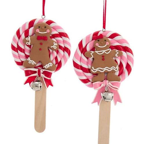 Gingerbread Boy or Girl Ornament on a Swirl Lollipop