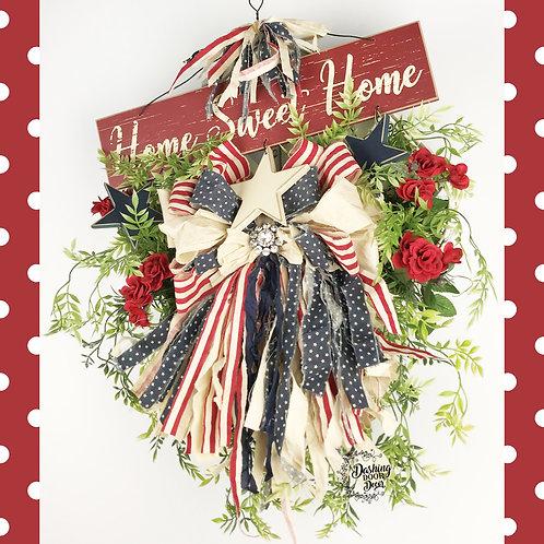 Rustic Patriotic Home Sweet Home Tobacco Basket Wreath