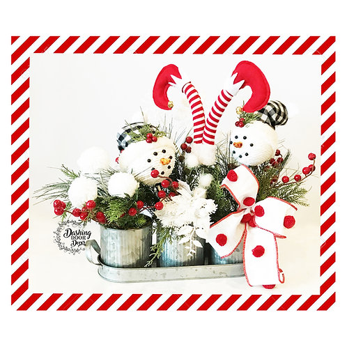 Christmas Peppermint Snowball Snowman-Elf Floral Centerpiece