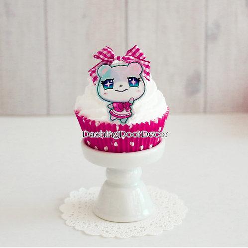 Faux Handmade Pink Cupcake w/ Character Charm
