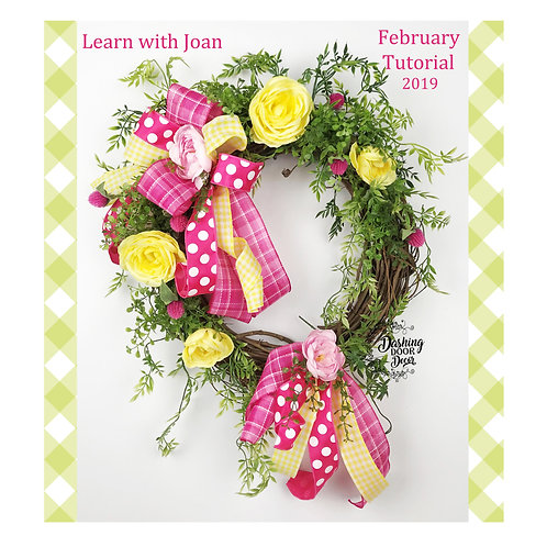 Yellow & Pink Spring Grapevine Floral Wreath