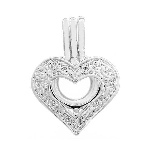 Filigree Open Heart Pearl Pendant
