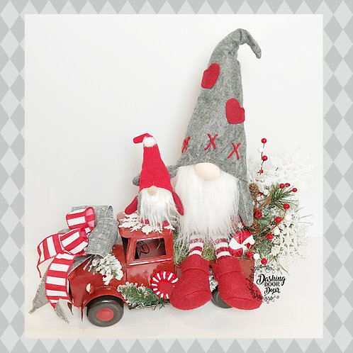 Snowy Christmas Gnome Tabletop Truck Centerpiece Arrangement