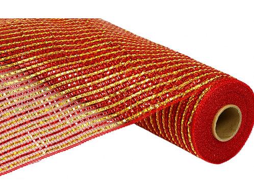 """21"""" Poly Deco Mesh: Metallic Red/Gold Stripe Mesh (10 yards)"""