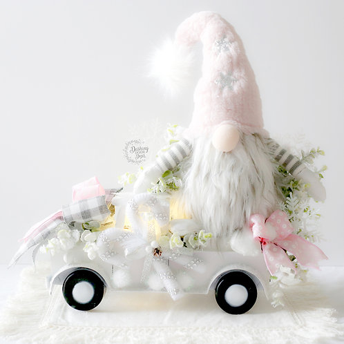 Farmhouse Christmas Pink Gnome  w/Truck Centerpiece