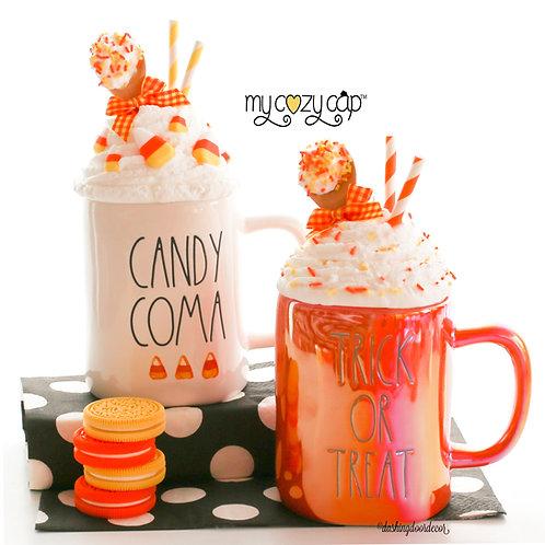 My Cozy Cap™ Candy Corn Faux Whip Mug Topper Fits Rae Dunn Mugs
