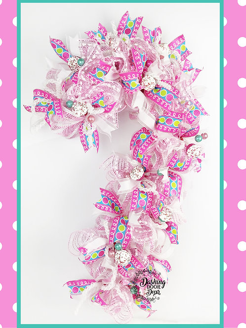 Christmas Candyland  Candy Cane Door Wreath