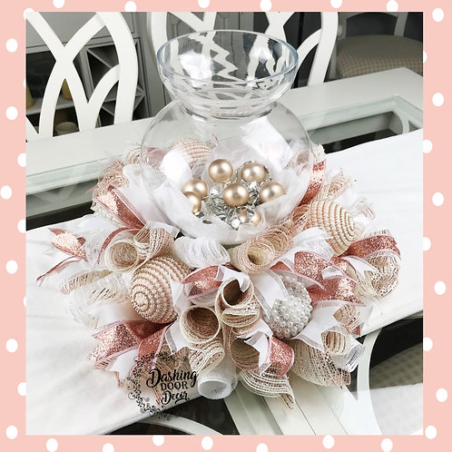 Simply Elegant Christmas Rose Gold Tabletop Centerpiece