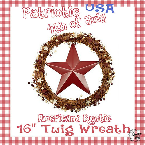 Farmhouse Natural Twig Red Star Patriotic Fourth of July Wreath