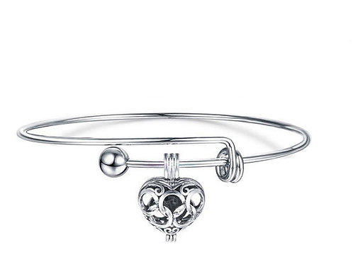 Silver Plated Bangle Charm Bracelet 2.0 Inch