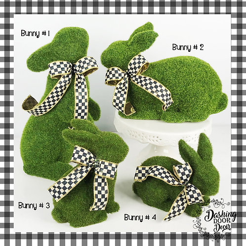 Green Flocked Bunny Rabbit with Designer Black Check Bow