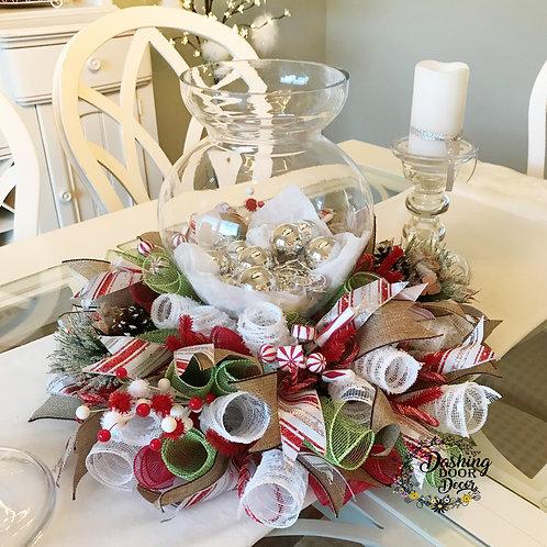 Christmas Deco Mesh Centerpiece Peppermint Arrangement Tabletop Candle Decor