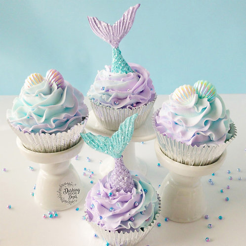 FAKE Mermaid Cupcakes for Decor/ Display