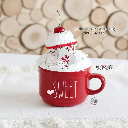 Jumbo Sweet Soup/Coffee Mug w/Coordinating My Cozy Cap™ Faux Whip Mug Topper