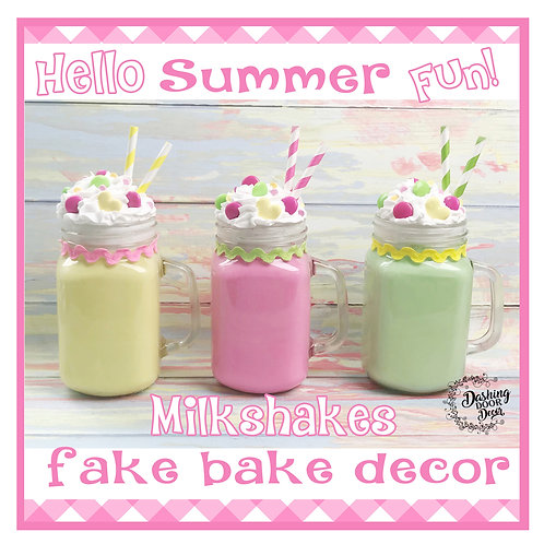 Fake Milkshakes for Display (pineapple, strawberry, mint)