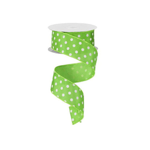 "1.5"" Small Polka Dot: Lime Green/White (10 Yards)"