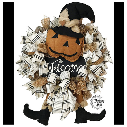 Autumn Fall Thanksgiving Primitive Pumpkin Welcome Wreath