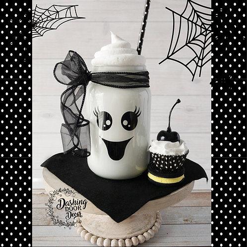 Fake Ghost Milkshake in a Glass Mason Jar