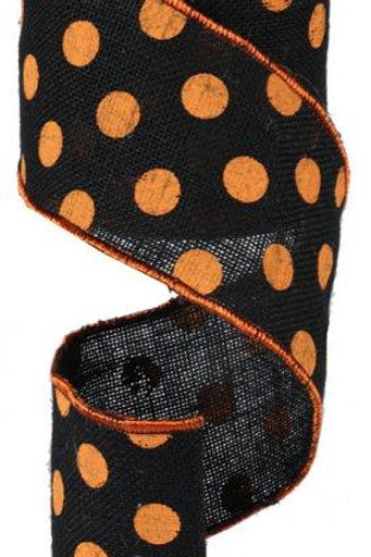 "4"" Jute Polka Dot: Black/Orange (10 Yards)"