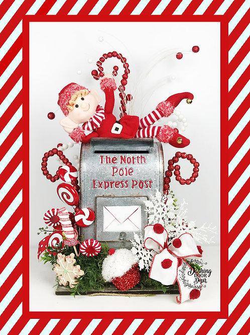 Christmas Elf North Pole Express Santa Mailbox Centerpiece