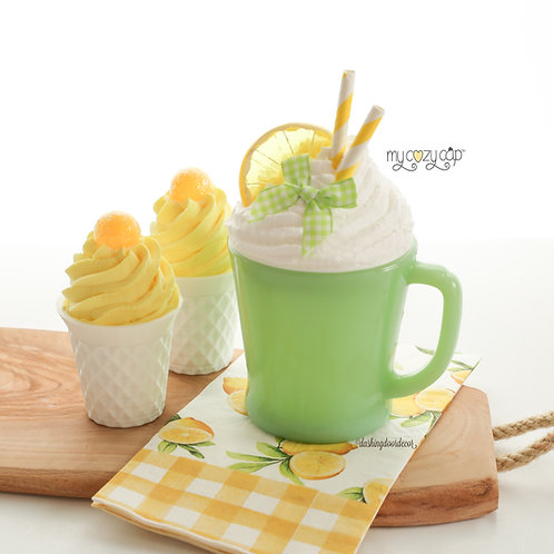 My Cozy Cap™ Lemon Faux Whip Mug Topper Fits Vintage Fire King D Mugs