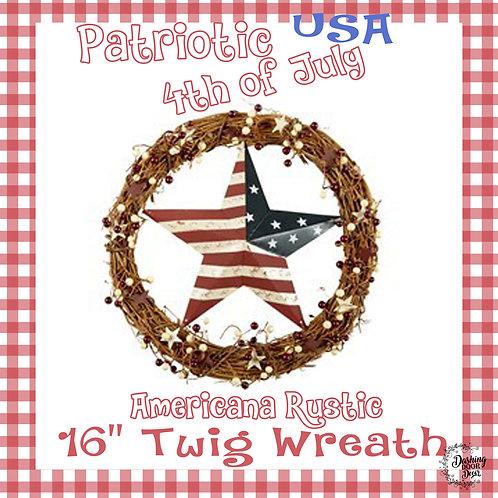 Farmhouse Natural Twig Flag Star Patriotic Fourth of July Wreath