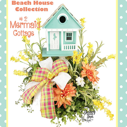 Whimsical Beach House Collection Mermaid Cottage Birdhouse Tabletop Centerpiece