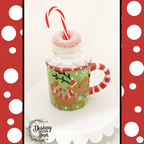 Fake Food Hot Cocoa Whimsical Reindeer Mug