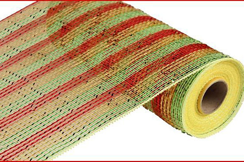 """10"""" Poly Deco Mesh: Wide Foil Stripe, Red/Gold/Green (10 yards)"""