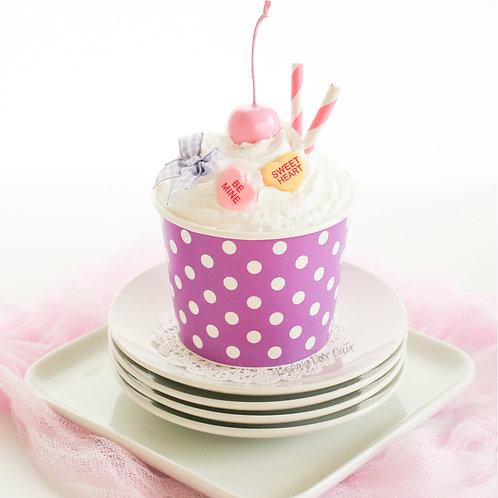 Faux Purple & White Polka Dot Ice Cream Sundae
