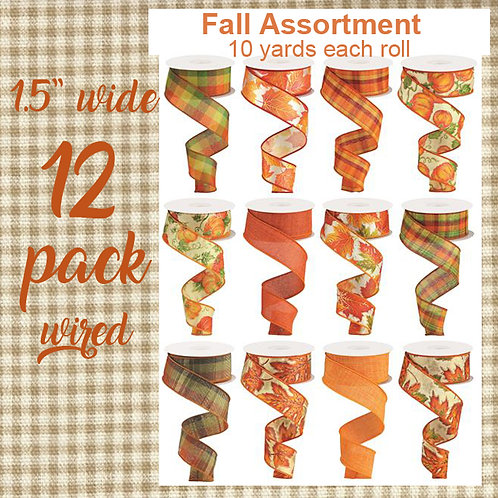 """12 Pack of Assorted Fall 1.5"""" Wide Ribbon Collection"""