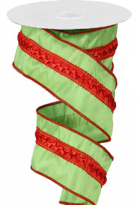 "2.5""Satin Braid/Dupioni:Fresh Green/Red (10 Yards)"