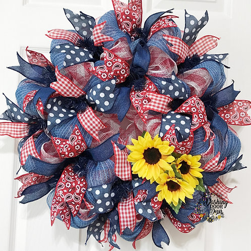 Autumn Fall Harvest Sunflower Denim Paisley Bandana Deco Mesh Wreath #105