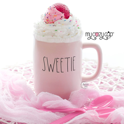My Cozy Cap™ Pink Strawberry Faux Whip Mug Topper fits Rae Dunn Mugs