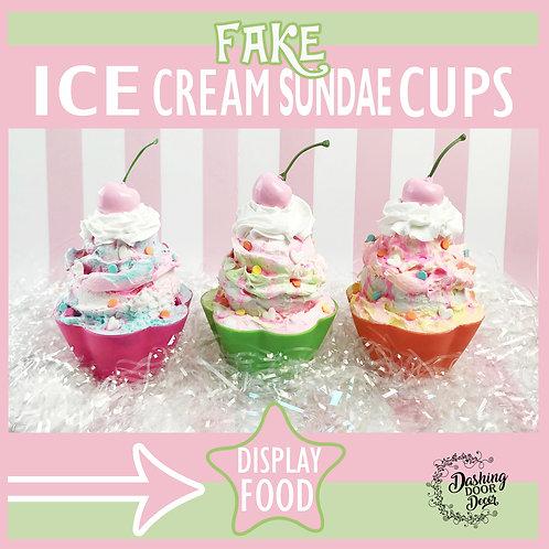 Fake Rainbow Sherbet Ice Cream Sundae Display