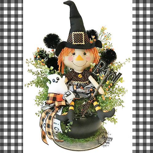 Adorable Halloween Witch Doll Cauldron Tabletop Centerpiece Arrangement