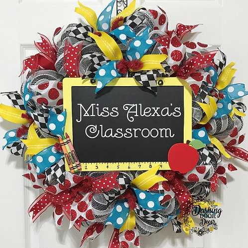 Personalized Back to School Teacher Chalkboard Ruler Classroom Deco Mesh Wreath