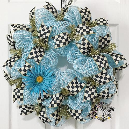 Whimsical ~Authentic~ Black & Ivory Check RIBBON Aqua Blue Deco Mesh Wreath #88