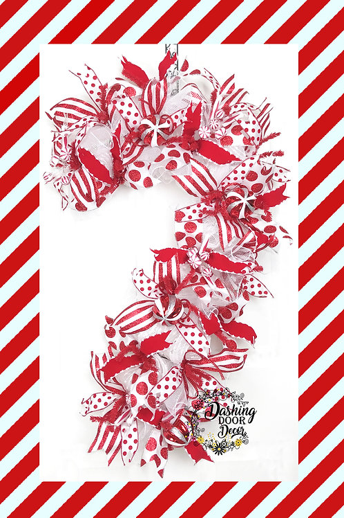 Christmas Candy Cane Deco Mesh Front Door Wreath