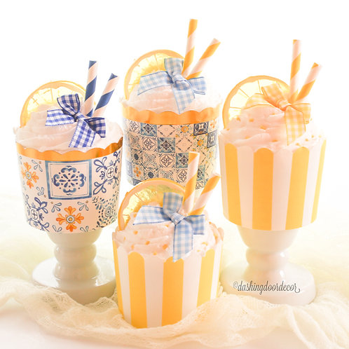 Faux Lemon Cupcakes for Display