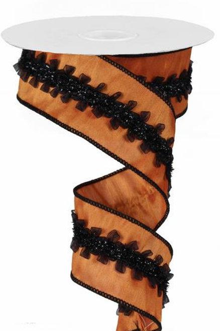 "2.5"" Sheer Loop/Dupioni:Pumpkin/Black (10 Yards)"