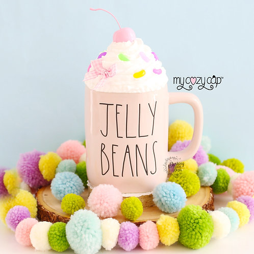 My Cozy Cap™ Easter Jelly Beans Faux Whip Mug Topper Fits Rae Dunn Mug