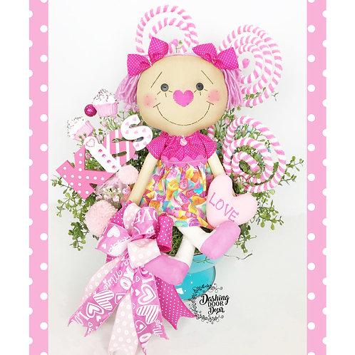 Valentine Kisses Candy Hearts Doll Tabletop Floral Centerpiece Arrangement