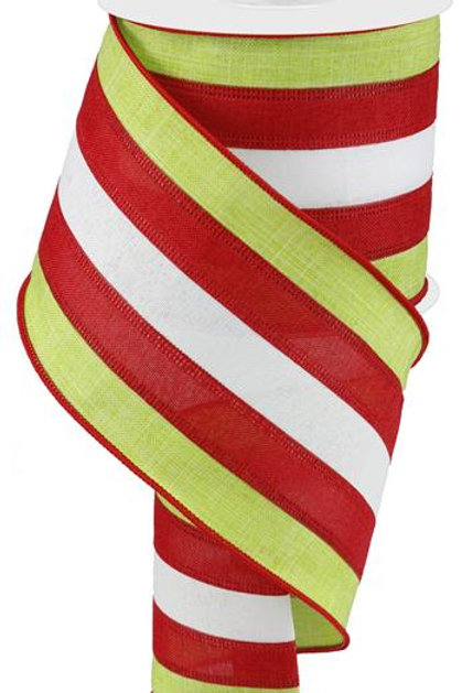"4"" Combo 5 in 1 Burlap: Lime/Red/White (10 Yards)"