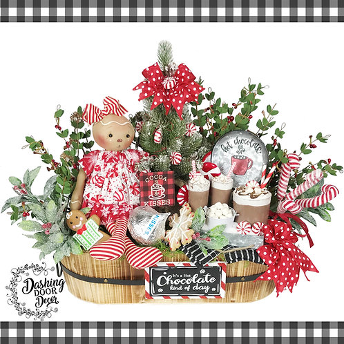 Hot Chocolate Cocoa Kisses Peppermint Gingerbread Doll Christmas Centerpiece