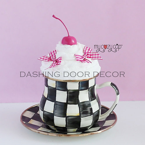 My Cozy Cap™  Pink Faux Whip Mug Topper Fits Mackenzie Child's Brand Mug