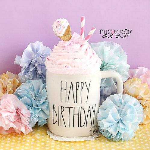 My Cozy Cap™  Happy Birthday Pink Faux Whip Mug Topper Fits Rae Dunn Mug