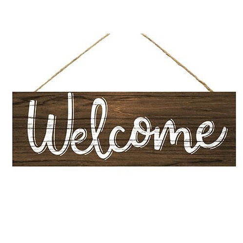 "15"" Wooden Sign: Welcome Dark Brown"