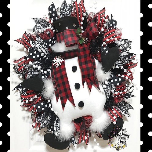Christmas Buffalo Plaid Snowman w/Top Hat & Mittens Deco Mesh Front Door Wreath